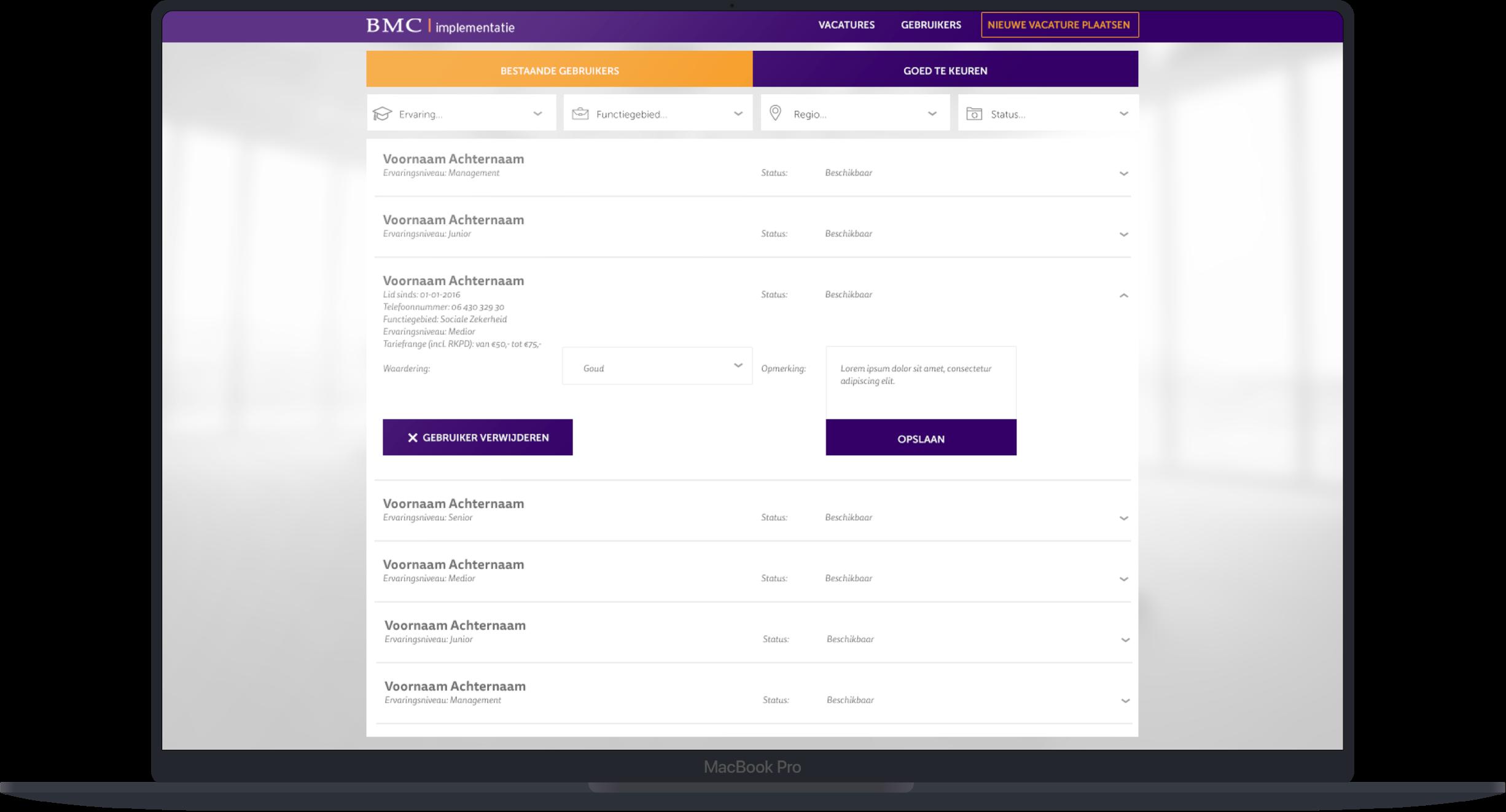 BMC Web App Gebruikers