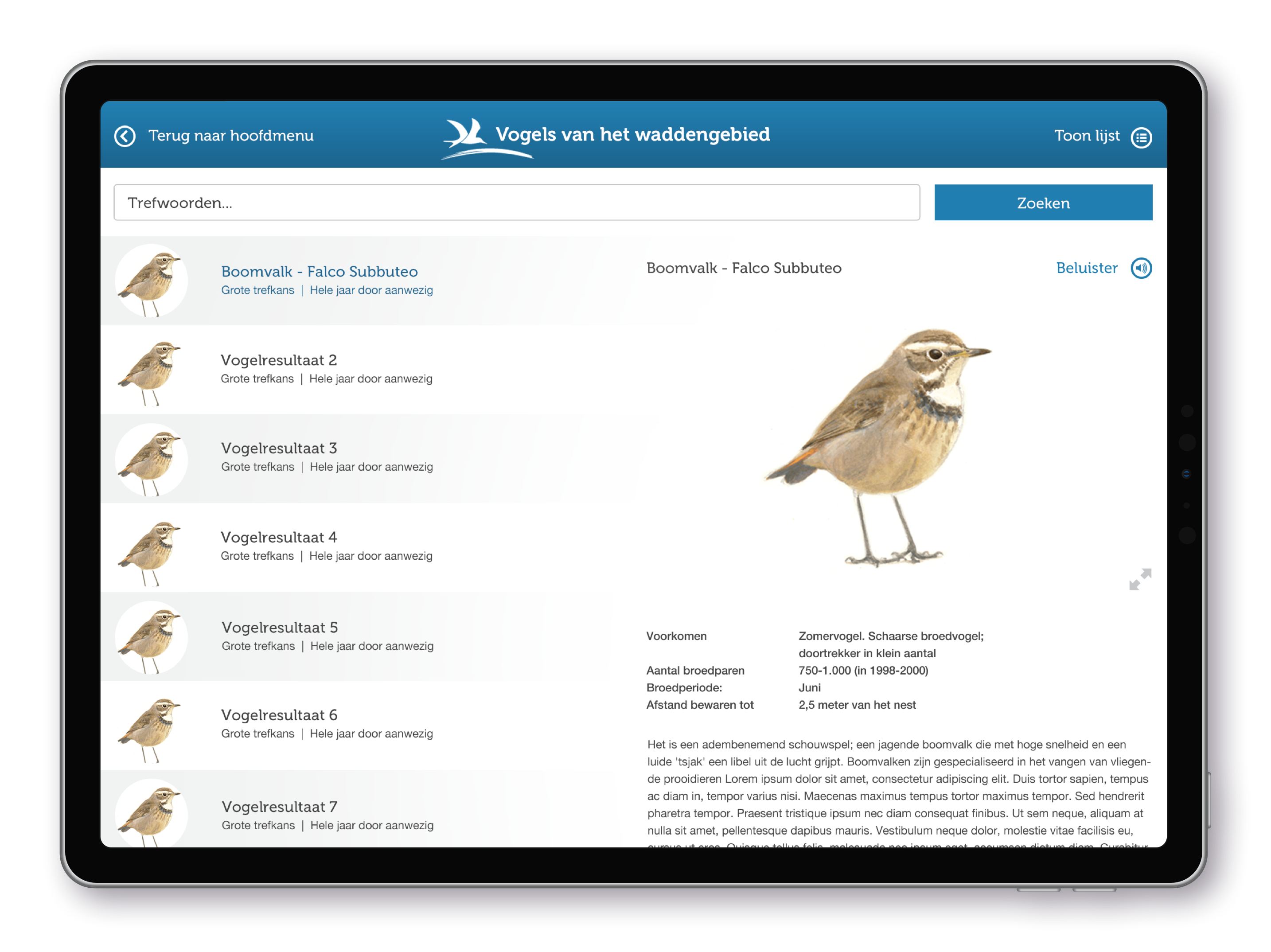Vogelbescherming Nederland Wadvogels iPad App